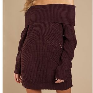 OVERSIZED OFF SHOULDER SWEATER DRESS
